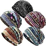 5 Pieces Women's Slouchy Beanie Hat Baggy Skull Sleep Cap Stretch Turban Headwear Head Wrap Cap Scarf