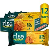 Rise Bar Non-GMO, Gluten Free, Soy Free, Real Whole Food, Whey Protein Bar (20g), No Added Sugar, Almond Honey High Protein B