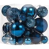 Christmas Ornaments for Xmas Trees,Night Blue Shatterproof Christmas Ball Ornaments of 32 pcs
