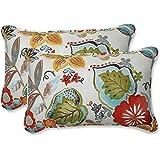 """Pillow Perfect Outdoor/Indoor Alatriste Ivory Lumbar Pillows, 11.5"""" x 18.5"""", Floral, 2 Count"""