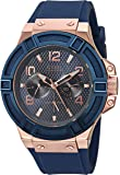 ゲス GUESS Blue and Rose Gold-Tone Rigor Standout Casual Sport Watch [並行輸入品]