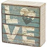 Love - Aqua Marine Mini Beach Plankboard Print Sign with Heart - 4-in