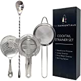 TheBarsentials Stainless Steel Cocktail Strainer Bar Tool Set with Stirring Spoon - Hawthorne Strainer, Julep Strainer, Fine-