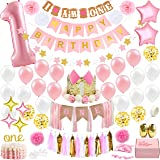 1st Birthday Girl Decorations WITH Birthday Crown- Baby First Birthday Decorations Girl - Pink and Gold Party Supplies - One