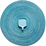 AHHFSMEI Round Placemats Set of 6 Round Braided Place mats 15 Inch Table Mats for Dining Tables Washable Heat Resistant Place