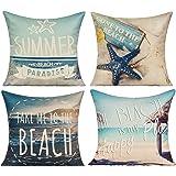 All Smiles AS Sea Animal Polyester Cotton Linen Pillow Case Cushion Cover PiIlowcase,18x18,Seahorse,Sea Map,Coral,Crab,Fish,S