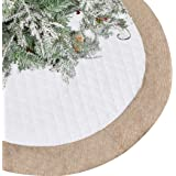 Lalent Christmas Tree Skirt - 48 inches Large White Quilted Thick Luxury Tree Skirt, Tree Holiday Decorations for Christmas D