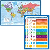 """2 Pack - World Map Poster [Blue Ocean] + Percentages, Decimals & Fractions Chart (Laminated, 18"""" x 24"""")"""