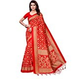 CRAFTSTRIBE Art Silk Floral Print Coffee Color Indian Style Bollywood Saree for Women