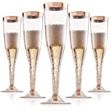 Rose Gold Plastic Champagne Flutes Disposable - Rose Gold Glitter with a Rose Gold Rim - [1 Box of 36 ] 6.5 Oz - Elegant Styl