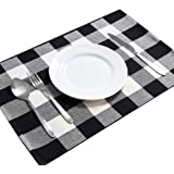 DOLOPL Cotton Buffalo Check Placemats Heat Resistant Table Mats Set of 6 Non-Slip Washable Place Mats for Halloween Christmas