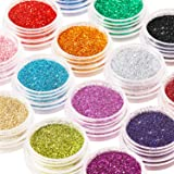 16 Colors Glitter Nail Sequins Powder Cosmetic Festival Chunky Body Manicure Craft Glitter for Nail Hair Face with 6 Small Br