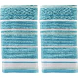 SKL Home by Saturday Knight Ltd. Seabrook Stripe 2-Piece Hand Towel Set, Teal