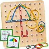 Panda Brothers Wooden Geoboard - Montessori Toy, Graphical Mathematical Education Toy for Kids with 30 Pattern Cards and 40 R