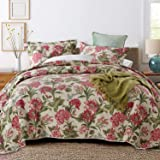 Artextile Queen Size 3 Piece Quilt Set Reversible Fabric Bed Coverlet with Red Flower Green Leaves Prints 100% Cotton Quilted