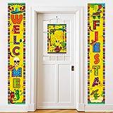 Cinco de Mayo Fiesta Decorations Banner - Mexican Porch Sign Decor Hanging Front Door Indoor Outdoor Accessories