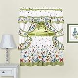 "Achim Home Furnishings Butterflies Printed Cottage Window Curtain Set, Green, 57"" x 36"""