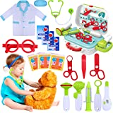 GINMIC Kids Doctor Kit, 22 Piece Kids Pretend Play Toys, Medical Dr Toy Kit with Carry Case, Role Play Doctor Costume for Lit
