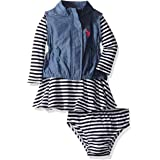 U.S. POLO ASSN. Baby Girls' 2 Piece Vest and Knit Dress Set