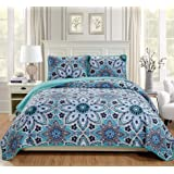 MK Home 3pc King/California King Oversized Quilted Bedspread Coverlet Set Floral Turquoise White Grey New