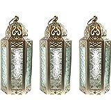 Decorative Candle Lanterns for Wedding Decor, Medium, White Gold, Set of 3