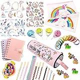 Juniqute Assorted Unicorn School Supplies Pen Pencil Case Eraser Note Stationery Gift Set (48Pcs)