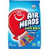 Airheads 80 Mini Bars, Chewy Fun Taffy Candy, Assorted Fruit Flavors, Back to School for Kids, Non Melting, Party 32.17oz (80