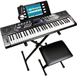RockJam 61 Key Keyboard Piano With Pitch Bend Kit, Keyboard Stand, Piano Bench, Headphones, Simply Piano App & Keynote Sticke