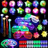 MIBOTE 67 PCs LED Light Up Toys Party Favors Glow in the Dark Party Supplies for Kid/Adults with 40 Finger Lights, 10 Jelly R