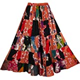 BONYA Women Hippie Boho Tie Dyed Patchwork Elastic Stretch Waist Skirt