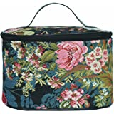 Signare Tapestry Navy & Pink Round Large Cosmetic Bag Travel Makeup Organiser Case with Handle Holder with Peony Flower in Bl