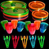 Upper Midland Products Neon Glow Party Supplies Set, Servers 32, Includes 9 and 6 Inch Plates, 9 OZ Cups, Forks,Spoons, Knive