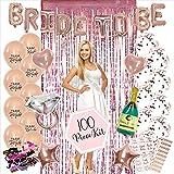 100PC Bachelorette Party Decorations Kit | Bridal Shower Decor Supplies | Rose Gold Paper Straws, Fringe Photo Booth Backdrop