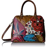 Anna by Anuschka Women's Genuine Leather Large Wide Zip Handbag | Hand Painted Original Artwork