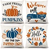 CDWERD Fall Pillow Covers 18x18 Inch Set of 4 Autumn Decorations Throw Pillow Covers Blue Truck and Orange Glitter Sparkle Pu
