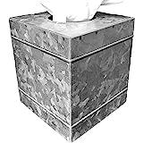 Autumn Alley Rustic Farmhouse Galvanized Metal Square Tissue Box Cover