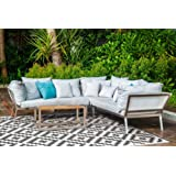 Aztec Grey and White Outdoor Rug and Mat     Recycled Plastic Mat   Fab Habitat (150x238 cm)