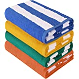 Large Cabana Stripe Beach Towel (Variety) - Pack of 4, 100% Cotton - Easy Care, Maximum Softness and Absorption - by Utopia T