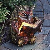Exhart Reading Owl Resin Statue w/Solar Garden Lights - Solar Owl Mini Figurine, Bookworm Owl Statue, Resin Owl Decor, Owl De