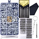 Upgrade Version Eyeglass Repair Kit,1500 Pcs More Complete Glasses Screws Kit and Nose Pads with 6 Pcs Screwdrivers and 3 Pcs