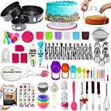 360 Pcs Cake Decorating Supplies Kit with Baking supplies- Springform Pan Set -Cake Turntable stand-55 Numbered Piping Tips &
