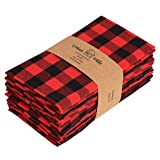 Urban Villa Dinner Napkins, Everyday Use, Premium Quality,100% Cotton, Set of 12, Size 20X20 Inch, Red/Black Oversized Cloth
