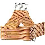 High-Grade Wooden Shirt Hangers with Rubber Grips (20 Pack) Smooth & Durable Wood Hangers with Grips Non Slip - Slim & Sleek