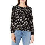 Goodthreads Amazon Brand Women's Fluid Twill Relaxed Fit Bracelet Sleeve Crewneck Tiered Woven Shirt