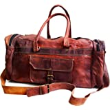 """Jaald 20"""" Leather Duffle Bag Travel Carry-on Luggage Overnight Gym Weekender Bag"""