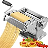 Nuvantee Pasta Maker Machine - Adjustable Crank Roller & Attachments - Manual Hand Press - Silver