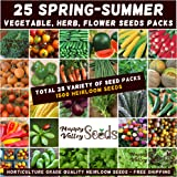 Mixed Spring Summer 1500 Heirloom Seeds Vegetable HERB Flower Garden 25 pks Bulk