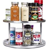 Estilo Stainless Steel Lazy Susan - 2 Tier Design, 360-degree Turntable