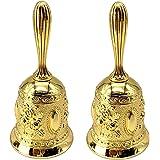 Adorox Set of 2 Antique Hand Bell Call Bell Brass Wedding Bells Temple Bell (Gold Hand Bell)