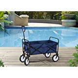 S2 Lifestyle Brazee Collapsible Folding Wagon Cart with Wheels, Navy Blue